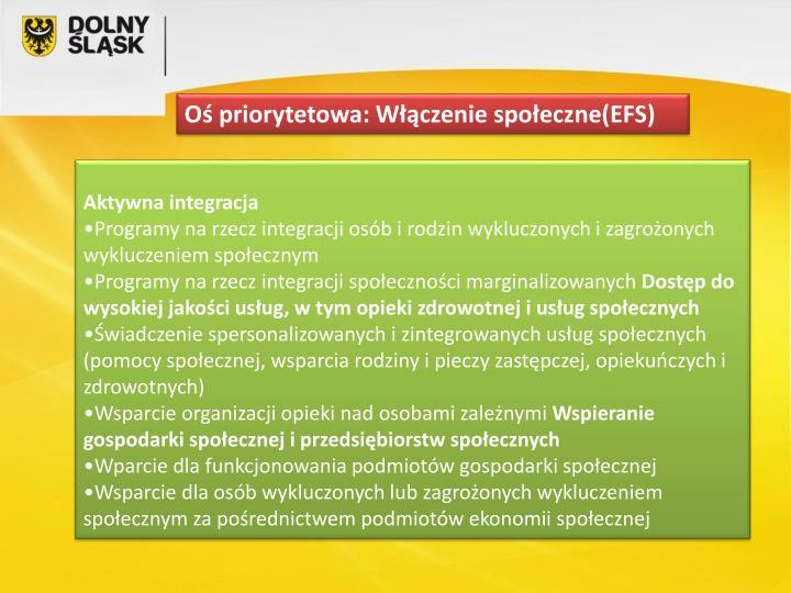 Oś priorytetowa: Włączenie społeczne(EFS)
