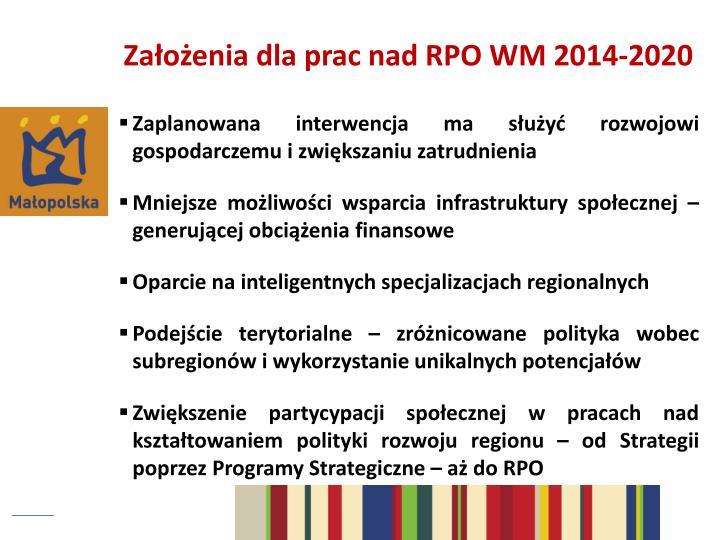 Założenia dla prac nad RPO WM 2014-2020