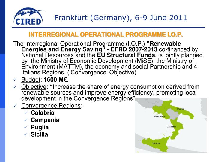 INTERREGIONAL OPERATIONAL PROGRAMME I.O.P.