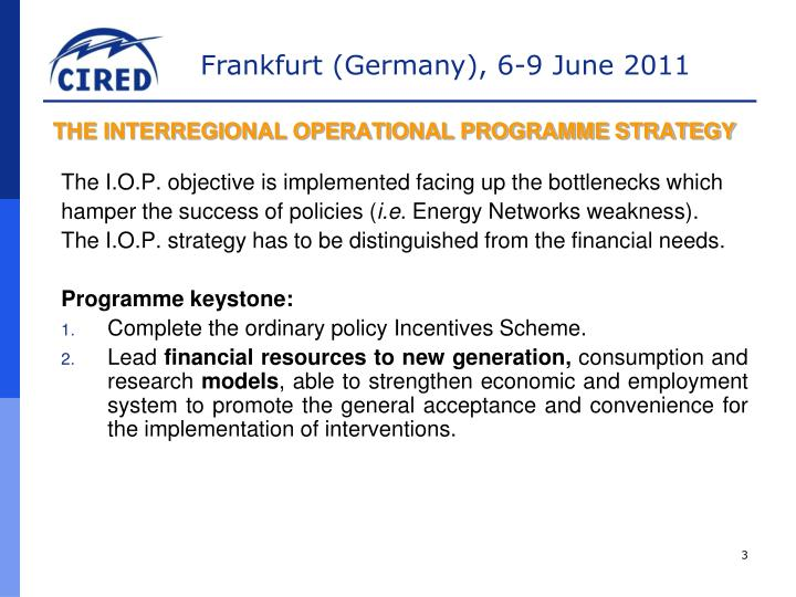 THE INTERREGIONAL OPERATIONAL PROGRAMME STRATEGY