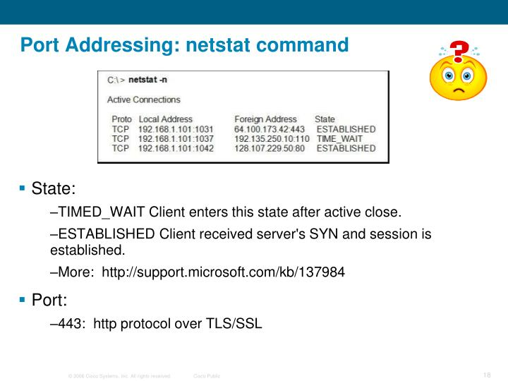 Port Addressing: netstat command