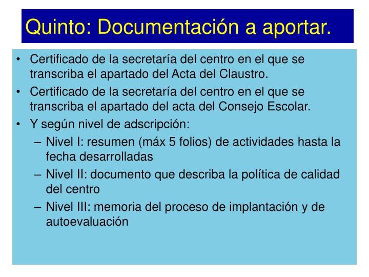 Quinto: Documentación a aportar.