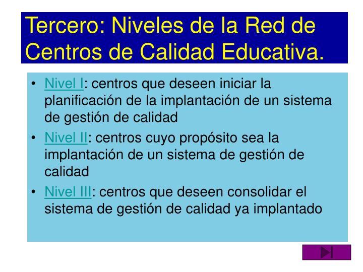 Tercero: Niveles de la Red de Centros de Calidad Educativa.