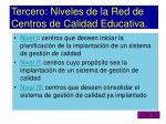 tercero niveles de la red de centros de calidad educativa
