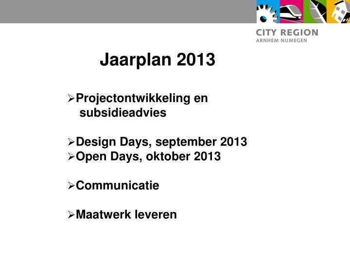 Jaarplan 2013