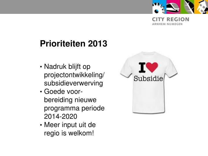 Prioriteiten 2013