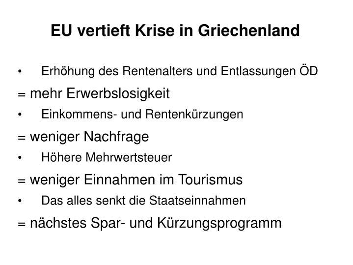 EU vertieft Krise in Griechenland