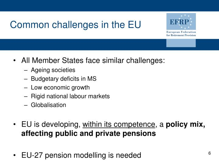 Common challenges in the EU