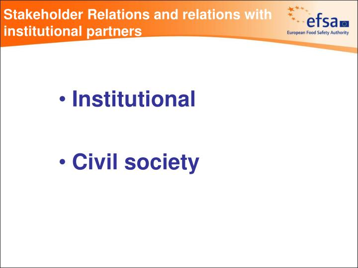 Stakeholder relations and relations with institutional partners1