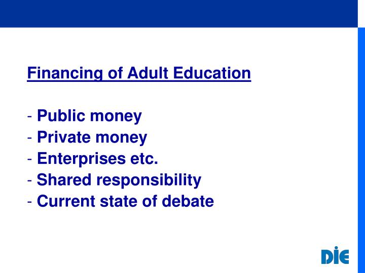 Financing of Adult Education