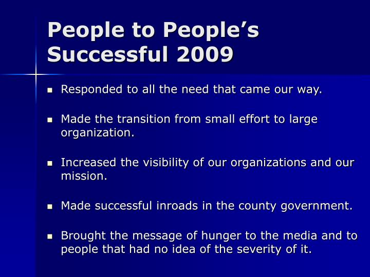 People to People's Successful 2009
