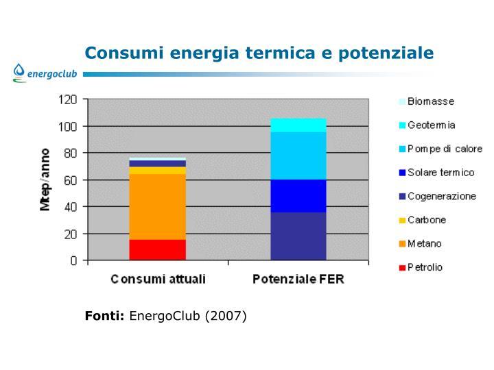 Consumi energia termica e potenziale