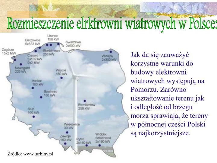 Rozmieszczenie elrktrowni wiatrowych w Polsce: