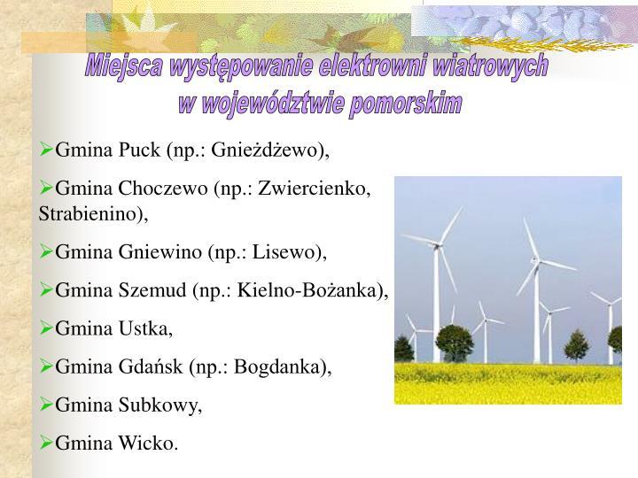 Miejsca występowanie elektrowni wiatrowych