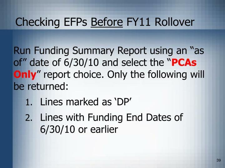 Checking EFPs