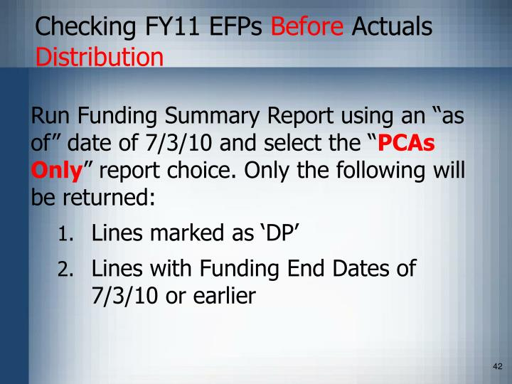 Checking FY11 EFPs