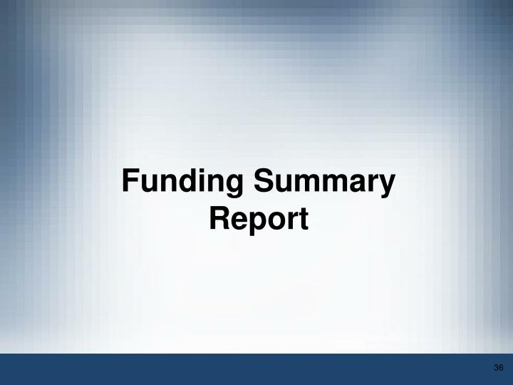 Funding Summary Report