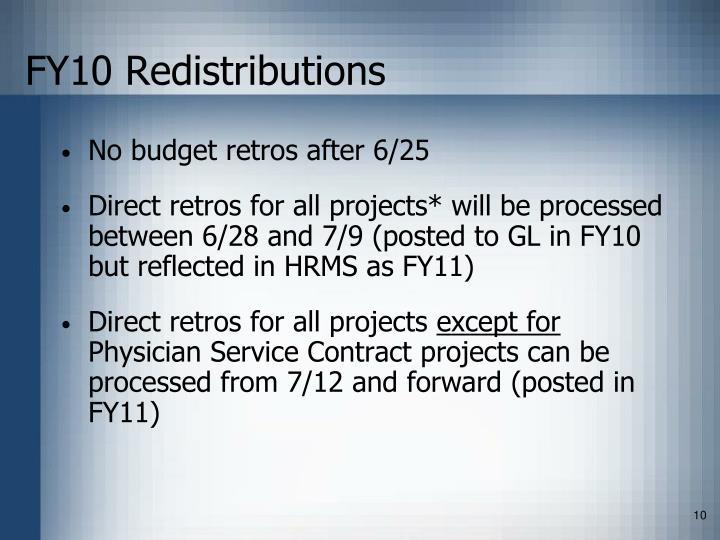 FY10 Redistributions