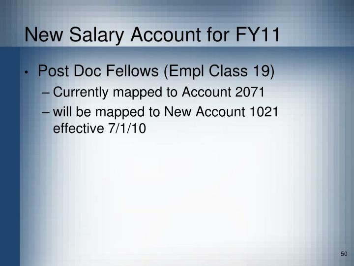 New Salary Account for FY11