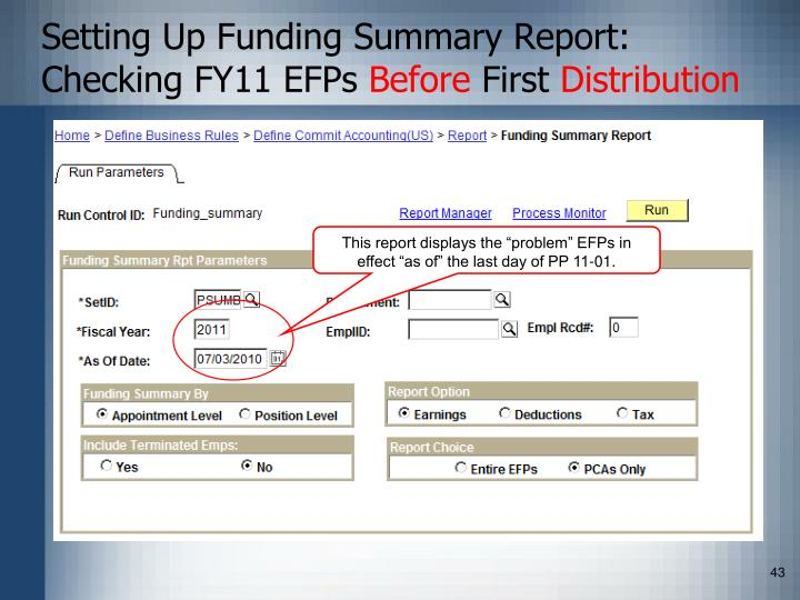 Setting Up Funding Summary Report: