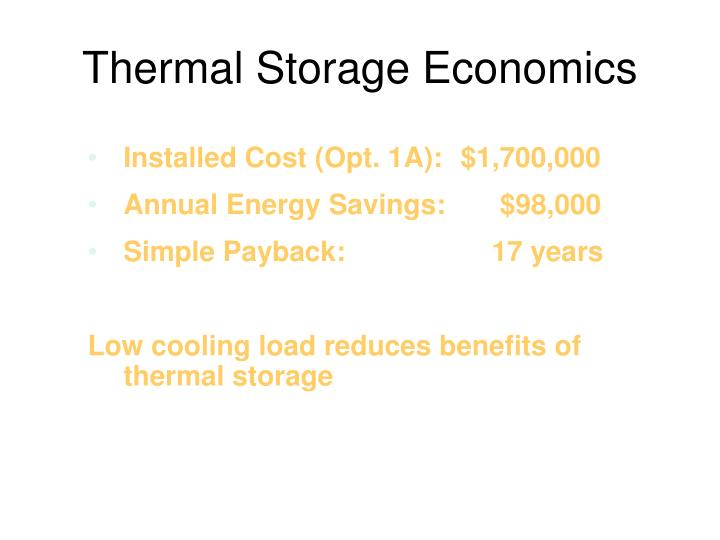 Thermal Storage Economics