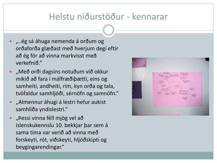 Helstu niðurstöður - kennarar