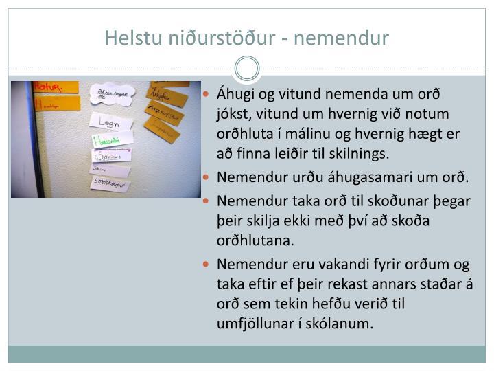 Helstu niðurstöður - nemendur