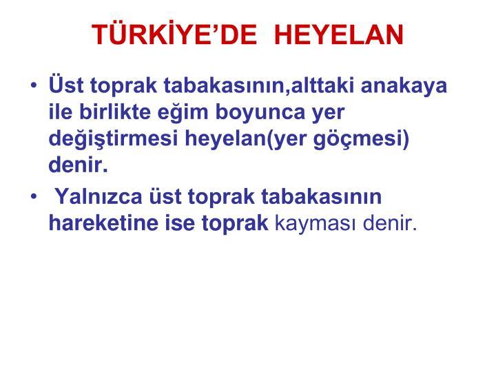 TÜRKİYE'DE  HEYELAN