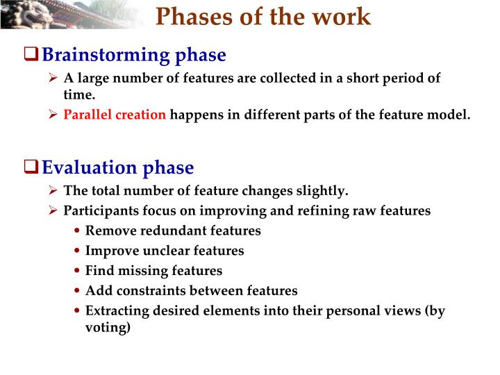Phases of the work