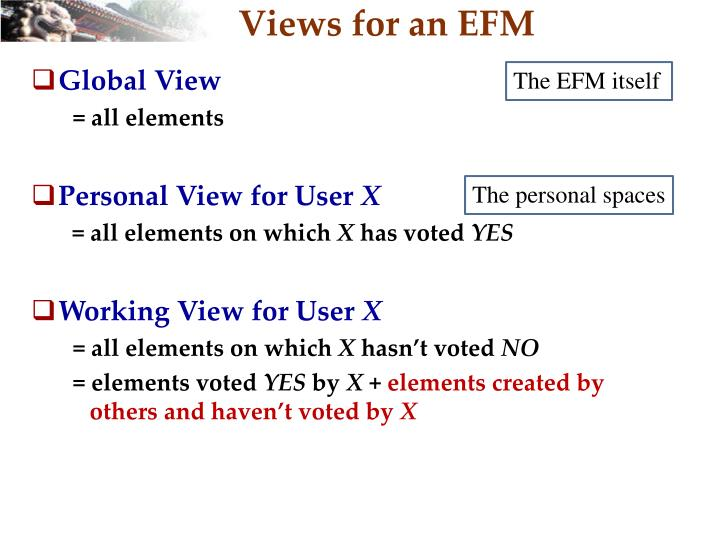 Views for an EFM
