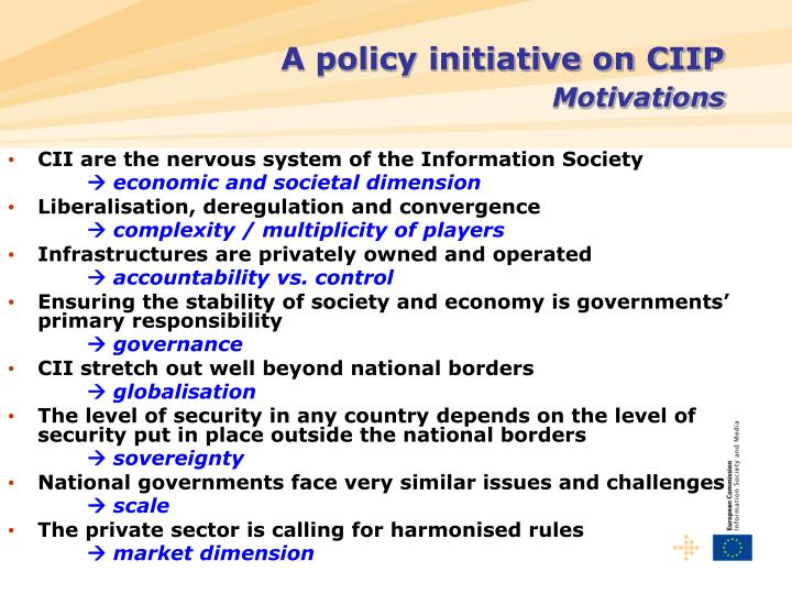 A policy initiative on CIIP