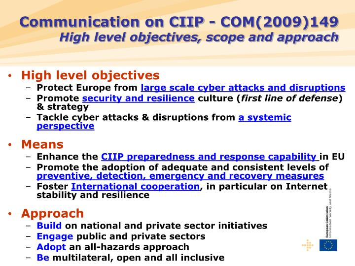 Communication on CIIP -