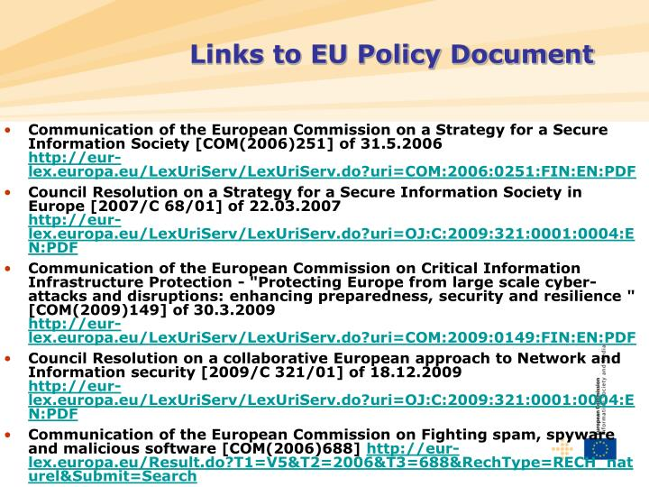 Links to EU Policy Document