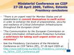 ministerial conference on ciip 27 28 april 2009 tallinn estonia presidency conclusions