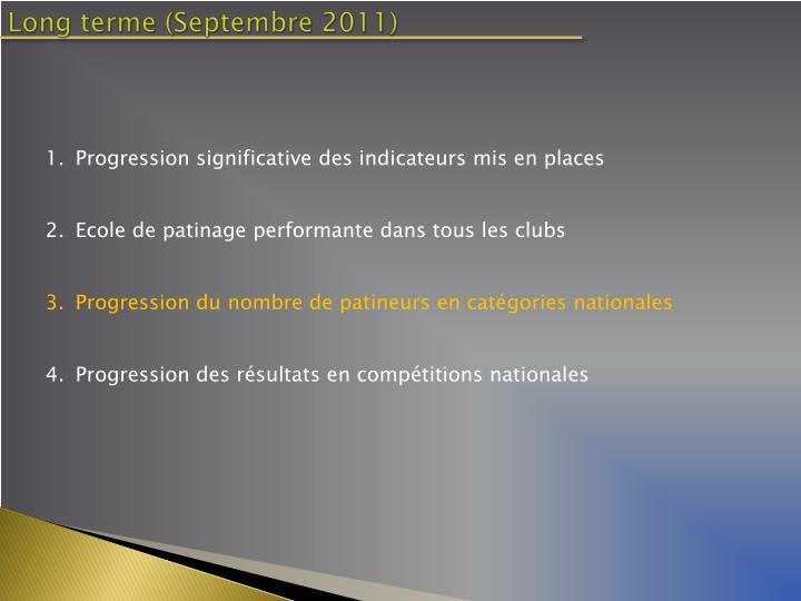 Long terme (Septembre 2011)
