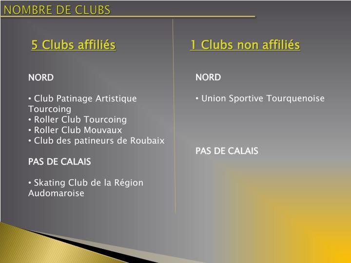NOMBRE DE CLUBS