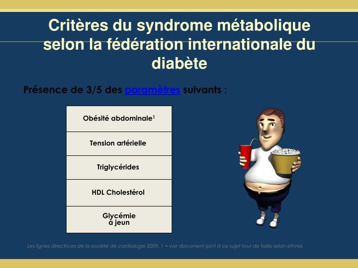 Critères du syndrome métabolique