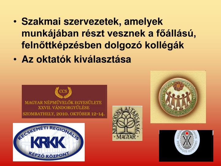 Szakmai szervezetek, amelyek munkájában részt vesznek a főállású, felnőttképzésben dolgozó kollégák