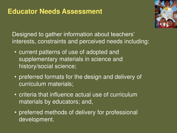 Educator Needs Assessment
