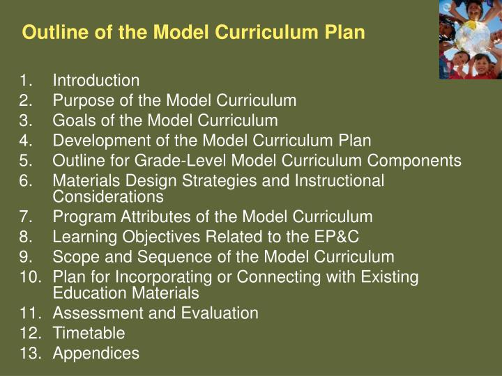 Outline of the Model Curriculum Plan