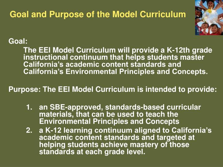 Goal and Purpose of the Model Curriculum