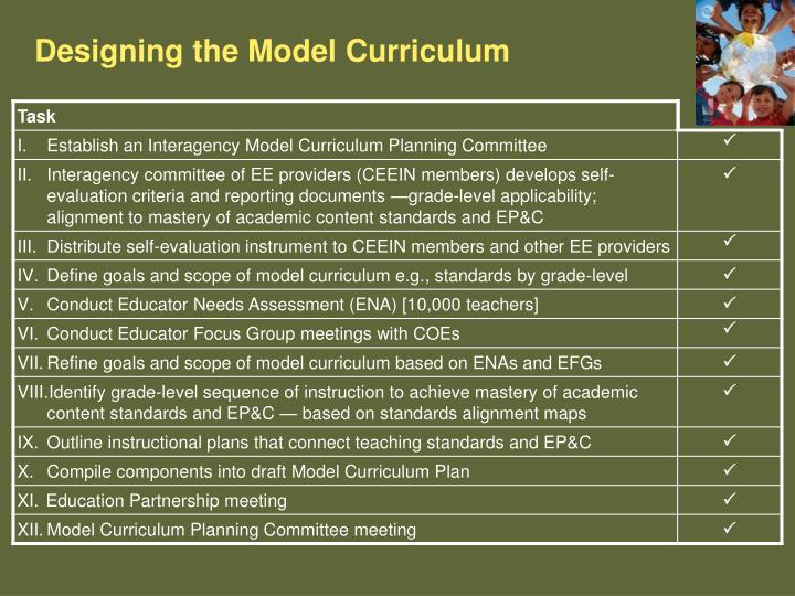 Designing the Model Curriculum