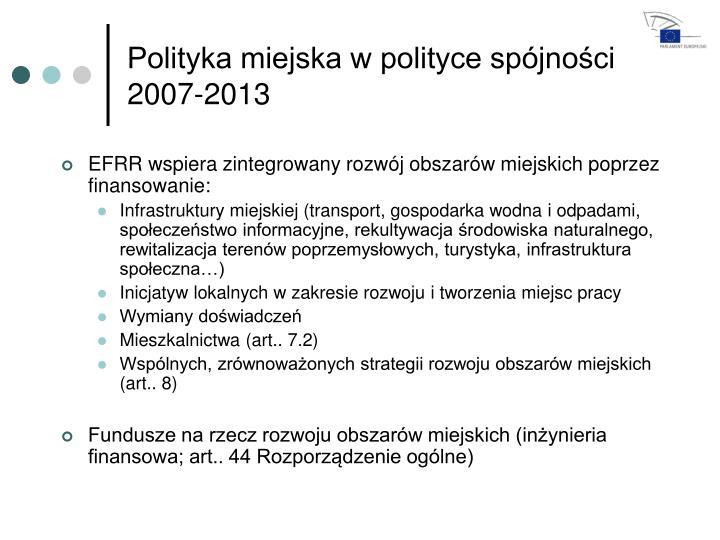 Polityka miejska w polityce spójności