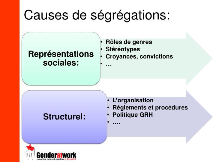 Causes de ségrégations: