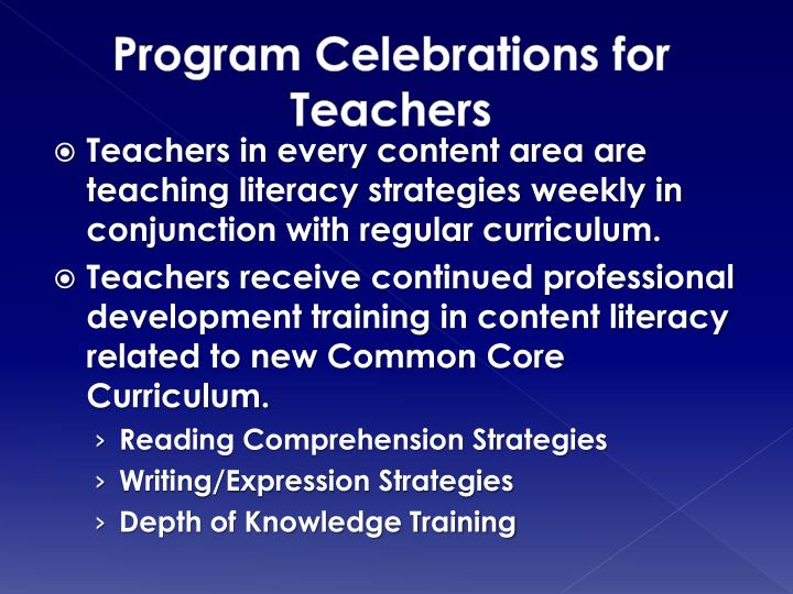 Program Celebrations for Teachers