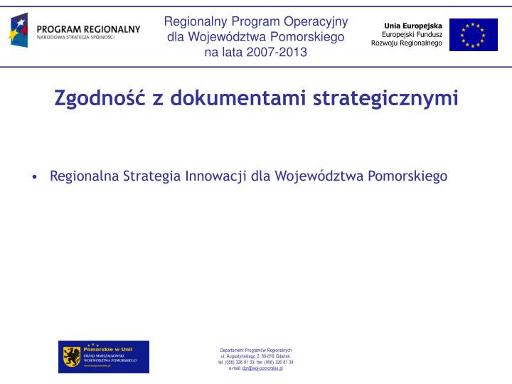 Zgodno z dokumentami strategicznymi