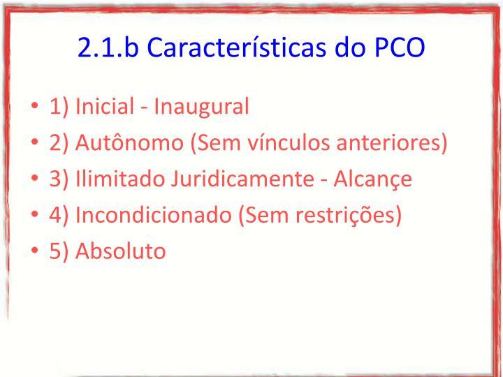 2.1.b Características do PCO