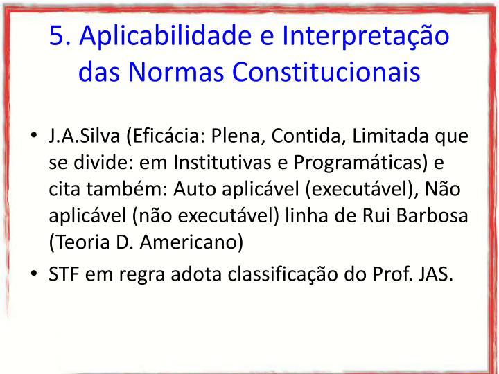 5. Aplicabilidade e Interpretação das Normas Constitucionais