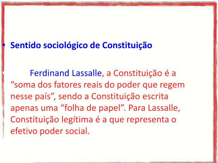 Sentido sociológico de Constituição
