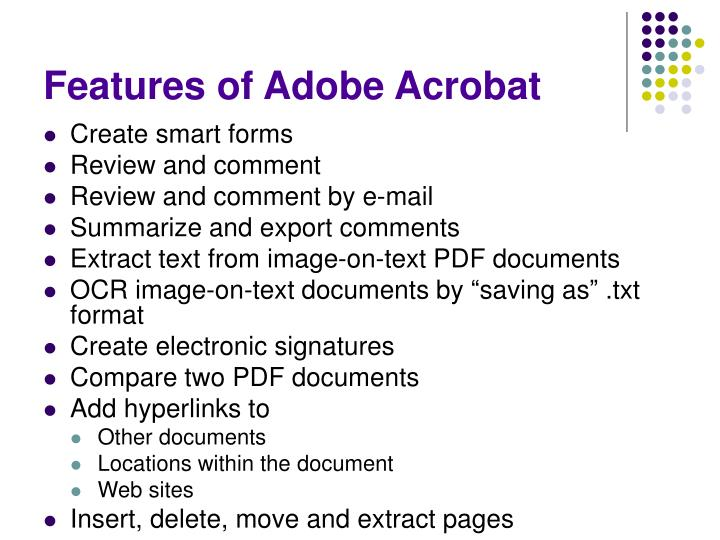 Features of Adobe Acrobat